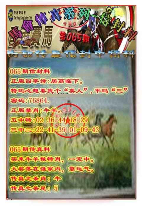 065期马会传真-信封料