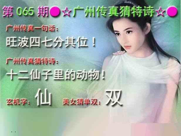 065期广州传真中特诗