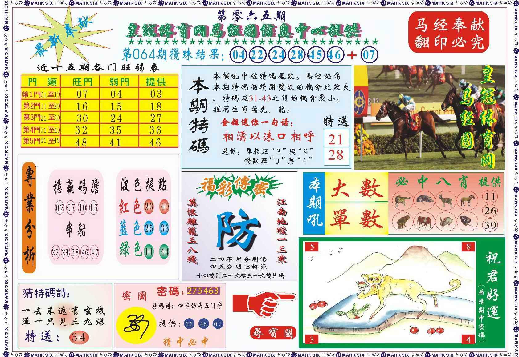 065期皇冠体育网马经图记录