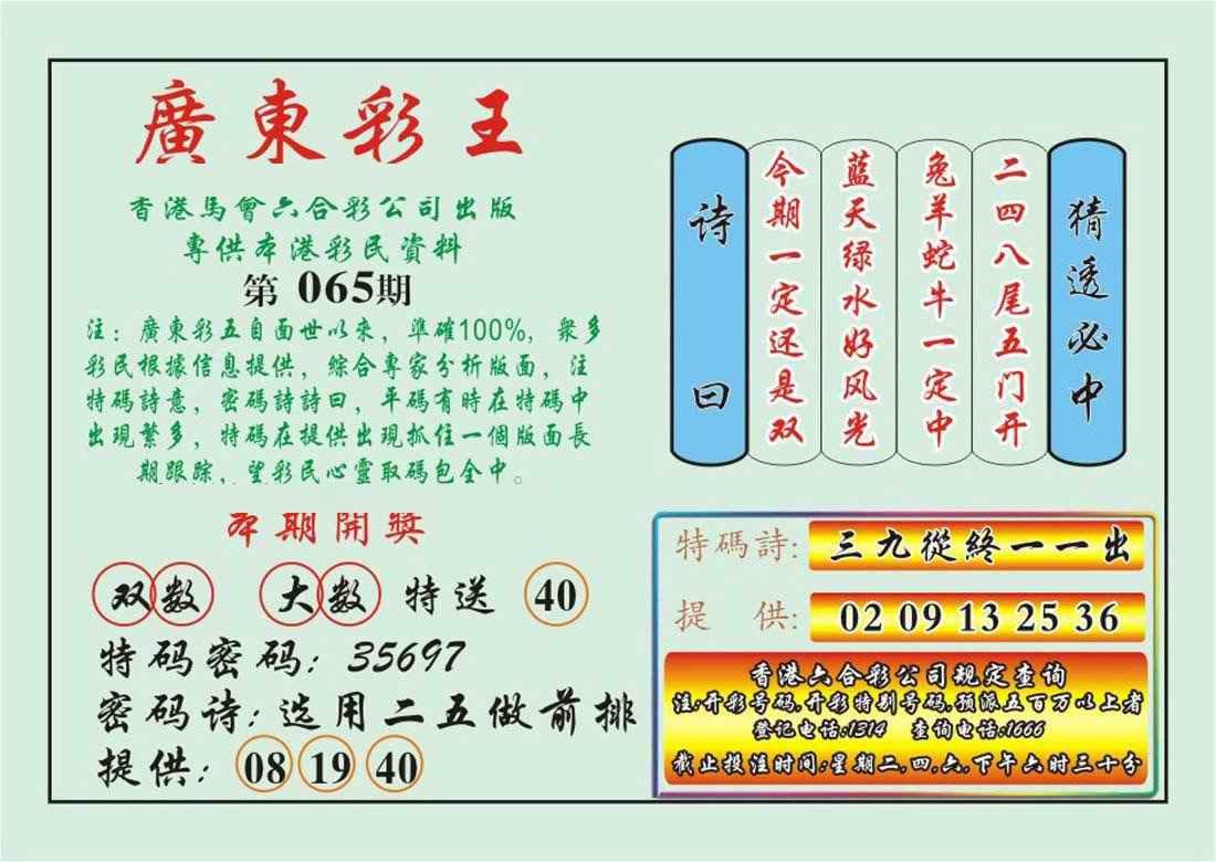 065期广东彩王