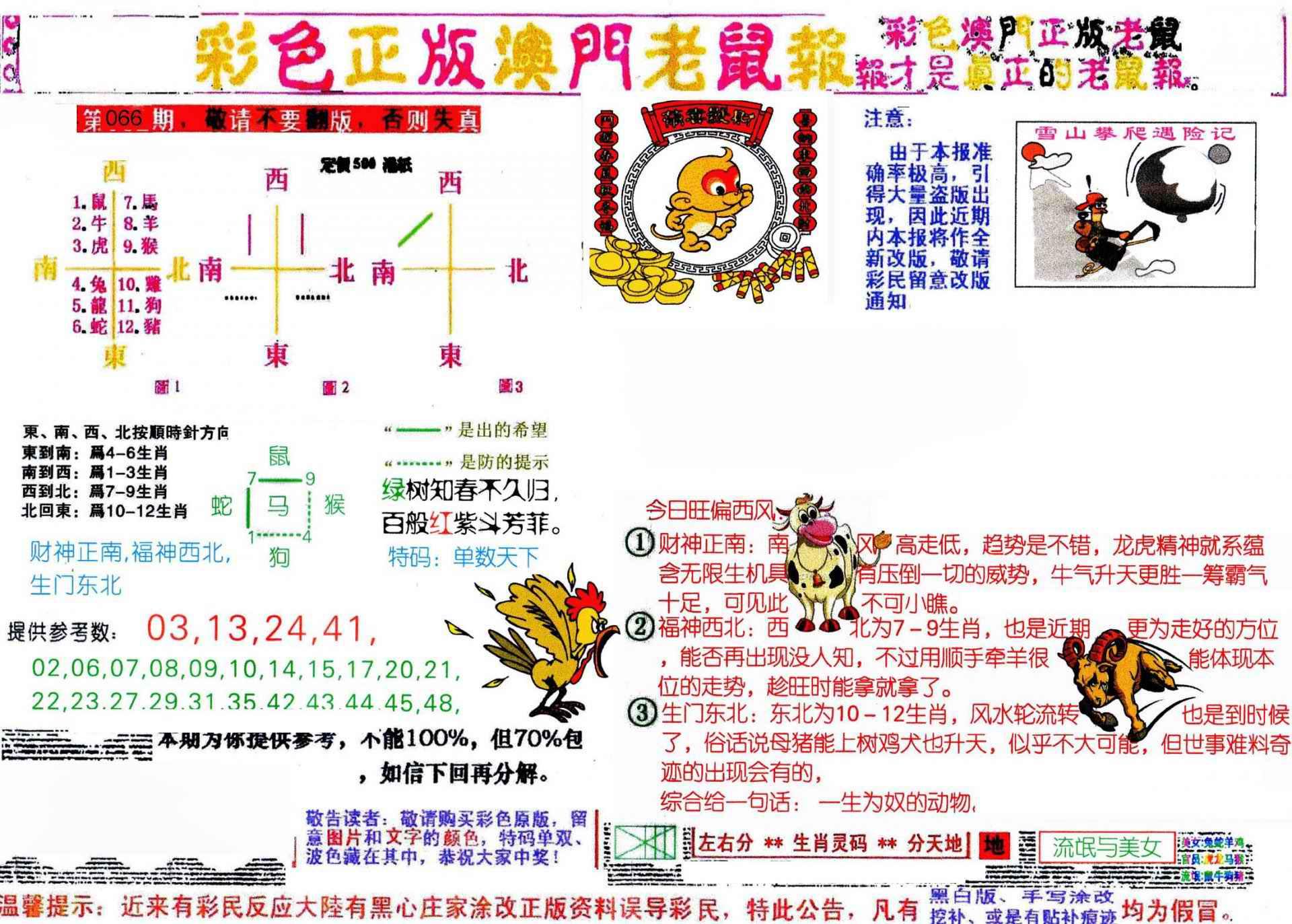 066期彩色正版澳门老鼠报