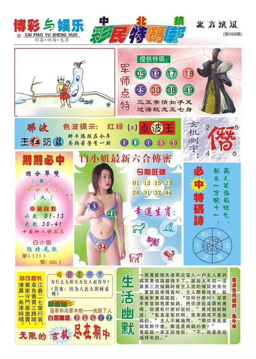 066期中北彩民特码报(新)