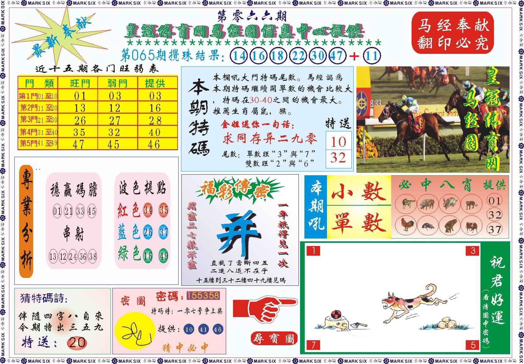 066期皇冠体育网马经图记录