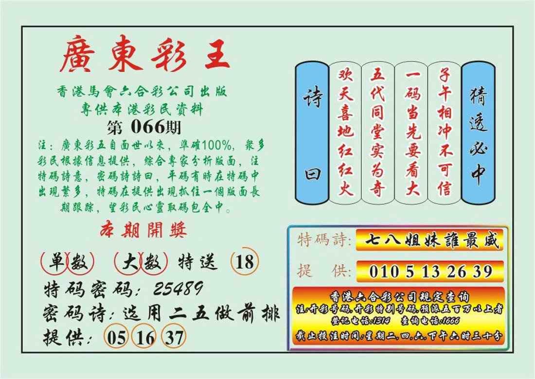 066期广东彩王