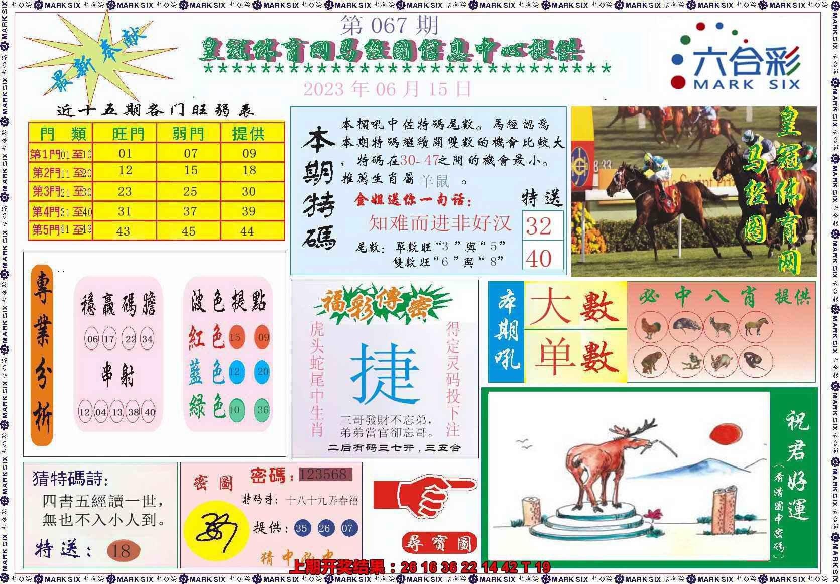 067期皇冠体育网马经图记录