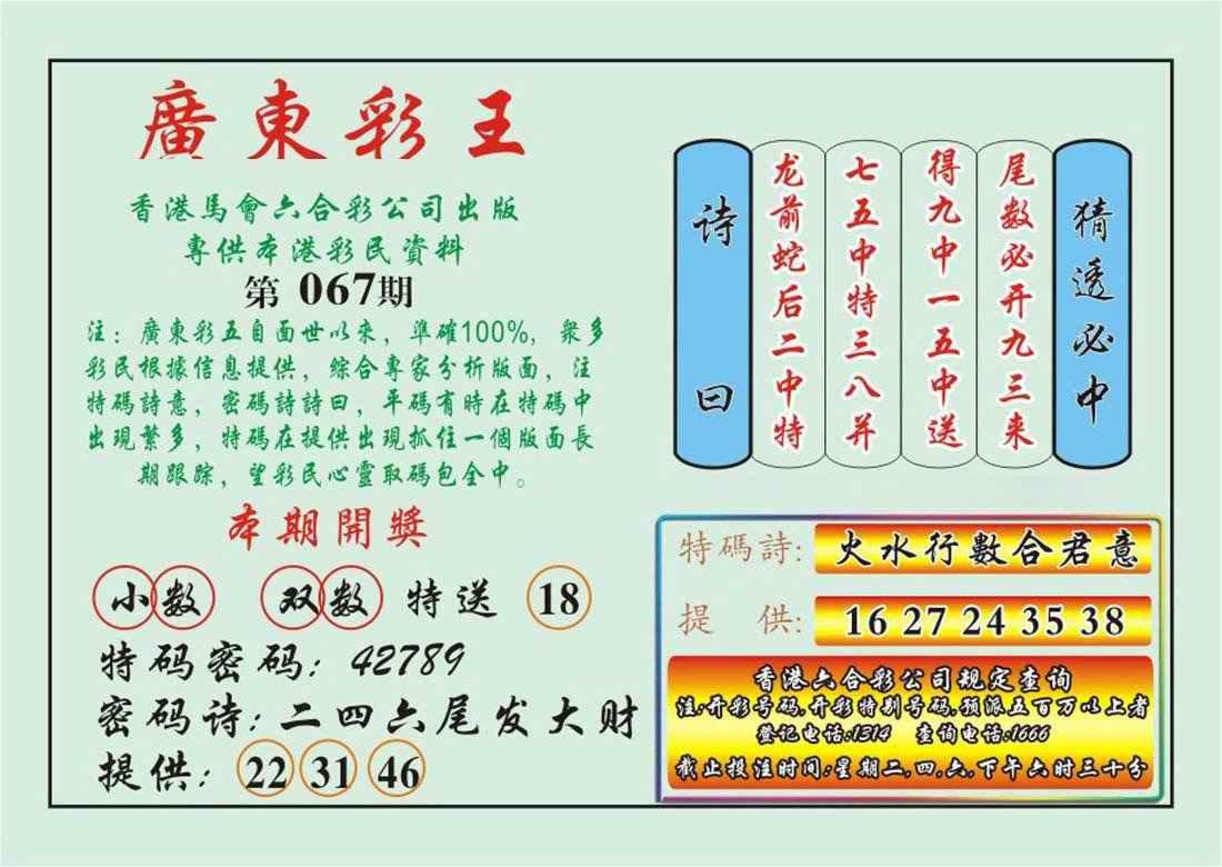 067期广东彩王