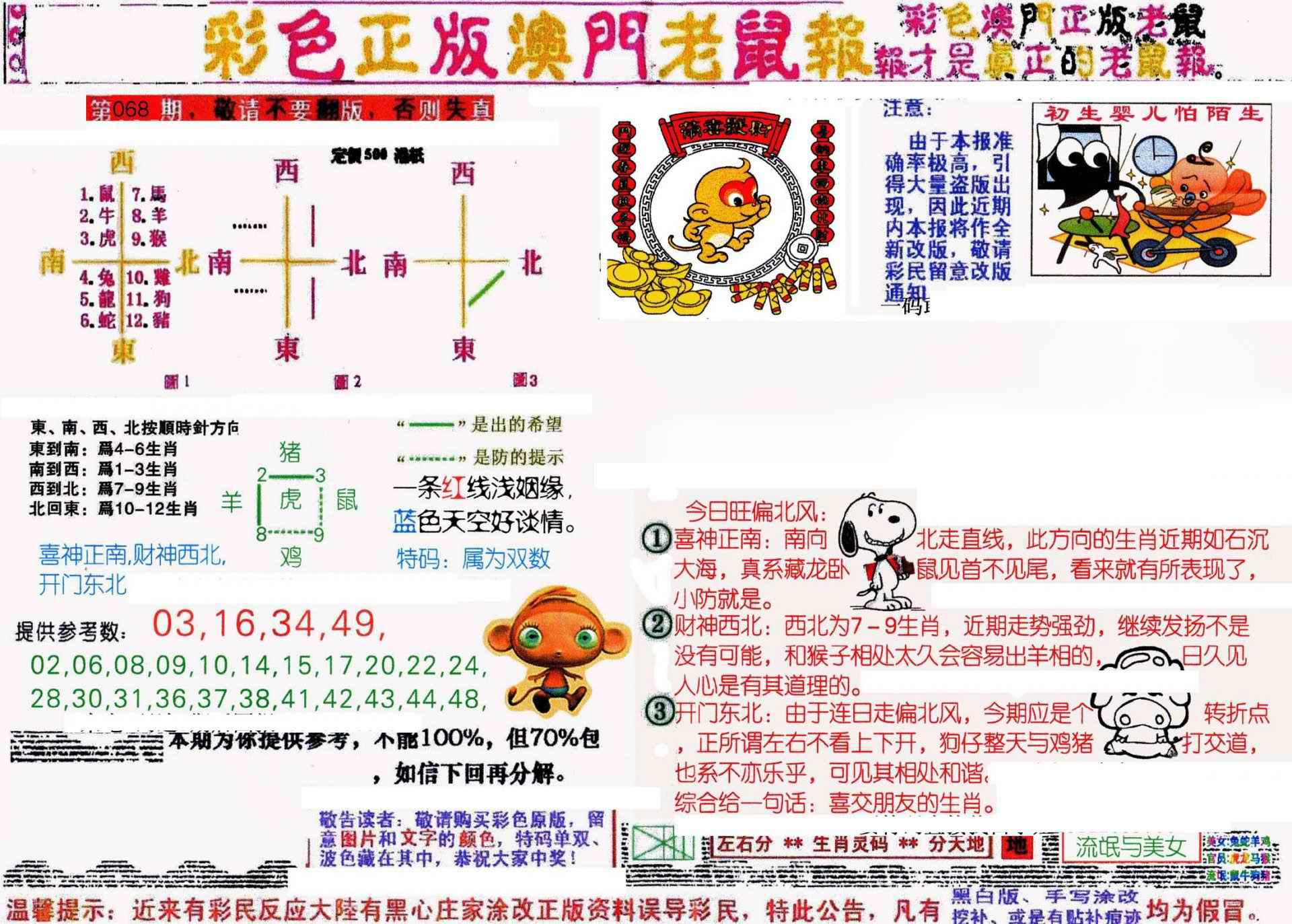 068期彩色正版澳门老鼠报