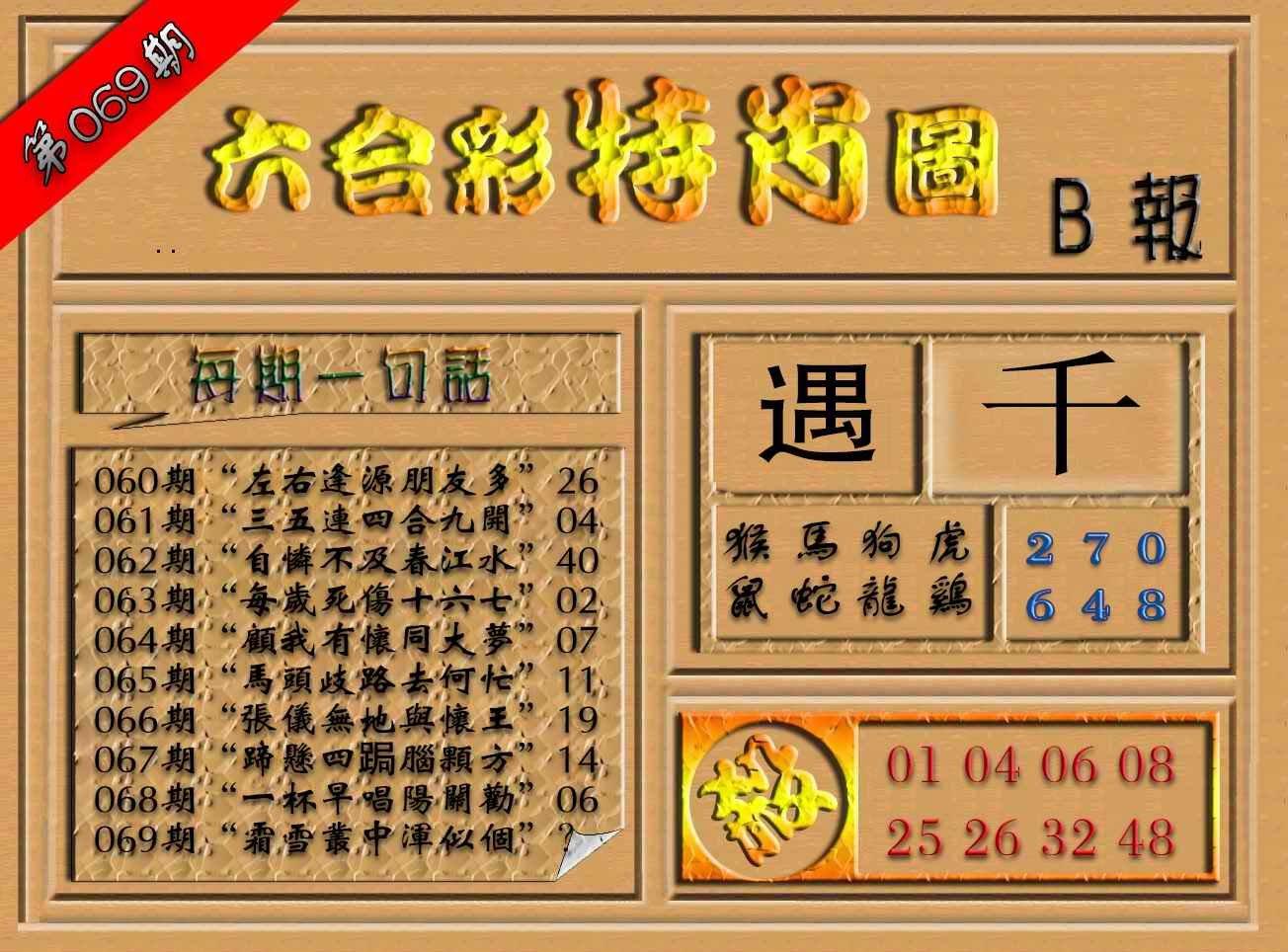 069期六合彩特肖图(B报)