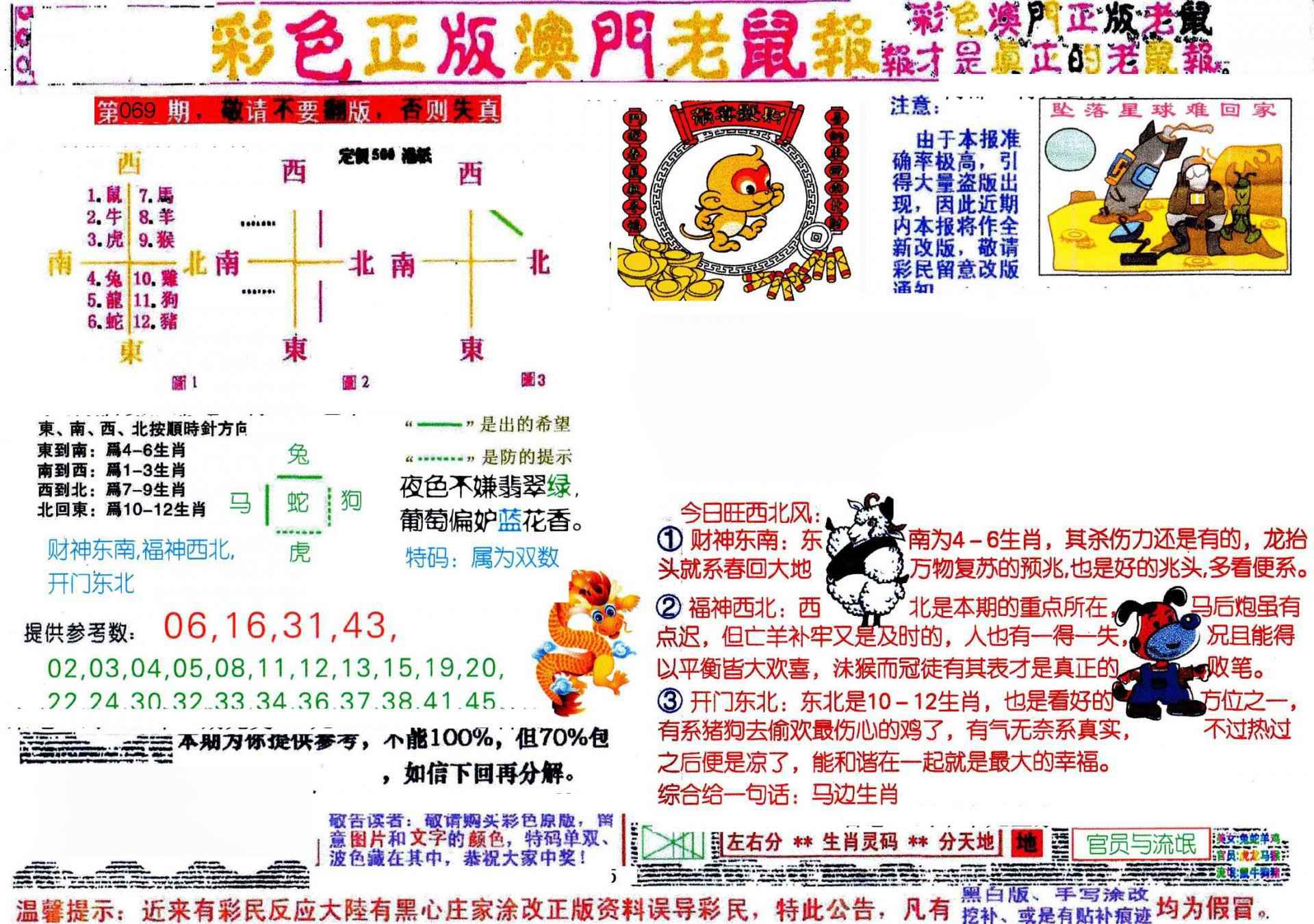 069期彩色正版澳门老鼠报