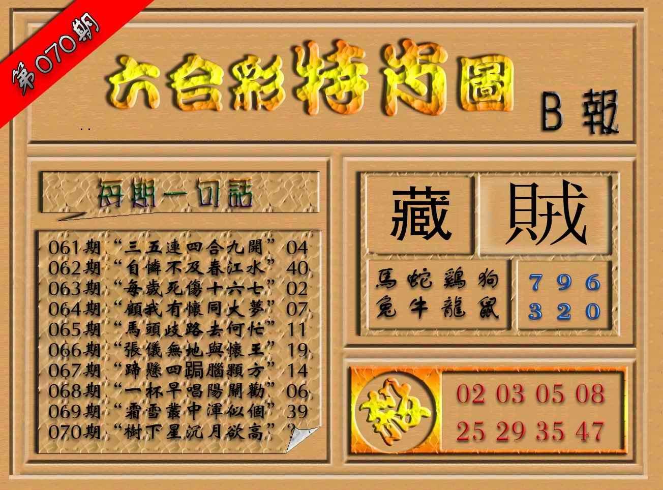 070期六合彩特肖图(B报)