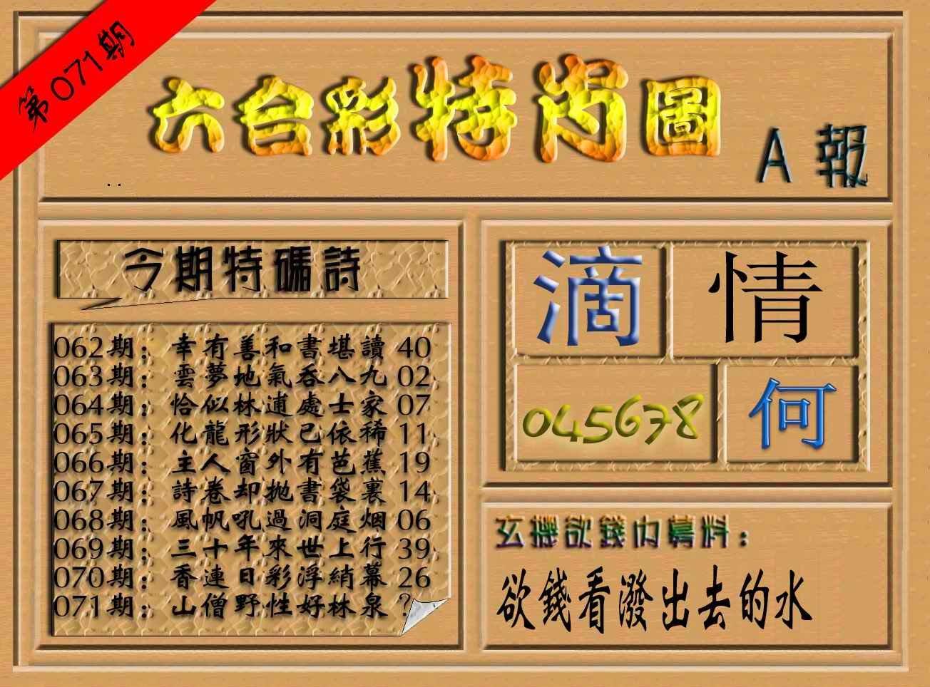 071期六合彩特肖图(A报)