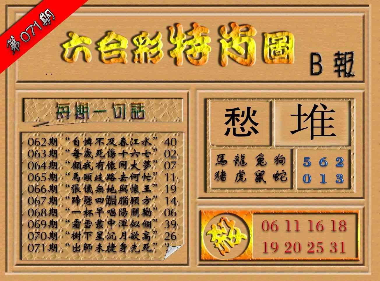 071期六合彩特肖图(B报)