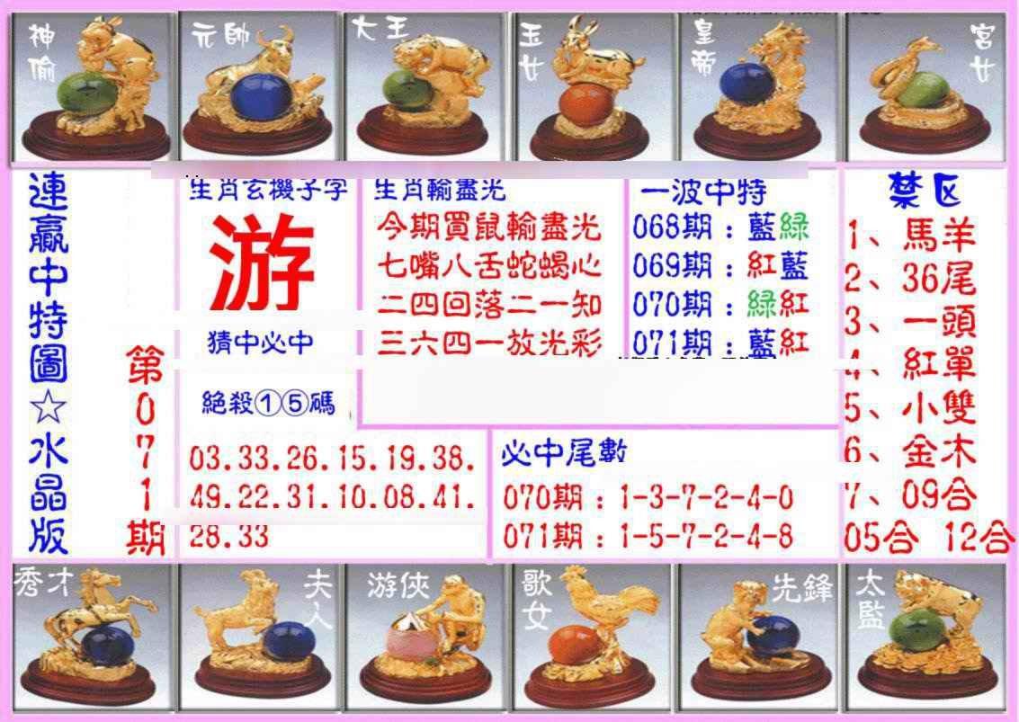 071期连赢中特图(水晶版)