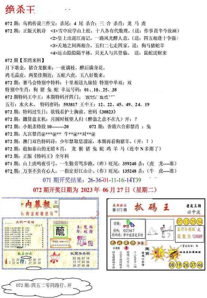072期蓝天报(绝杀王)