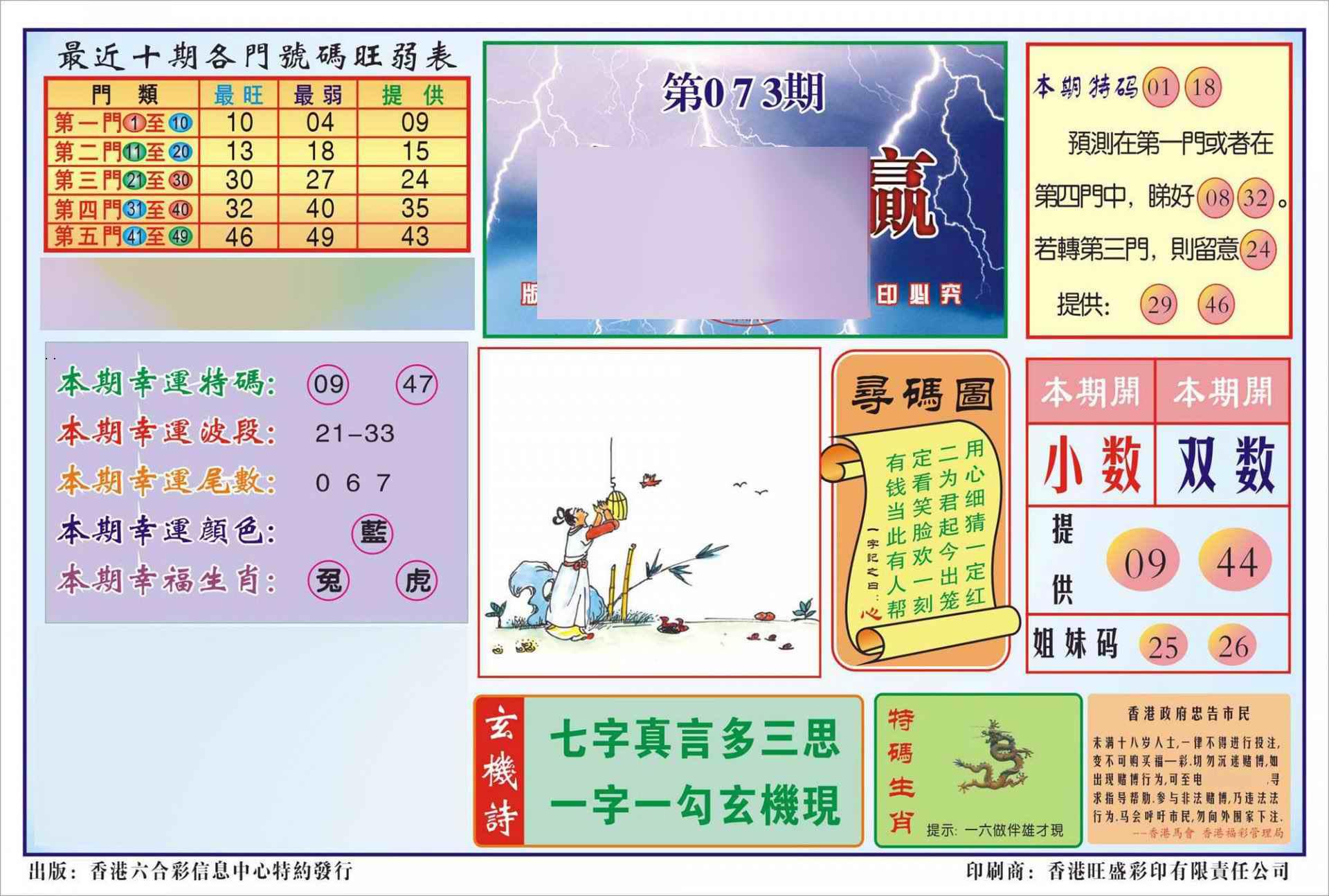 073期香港逢赌必羸(新图)