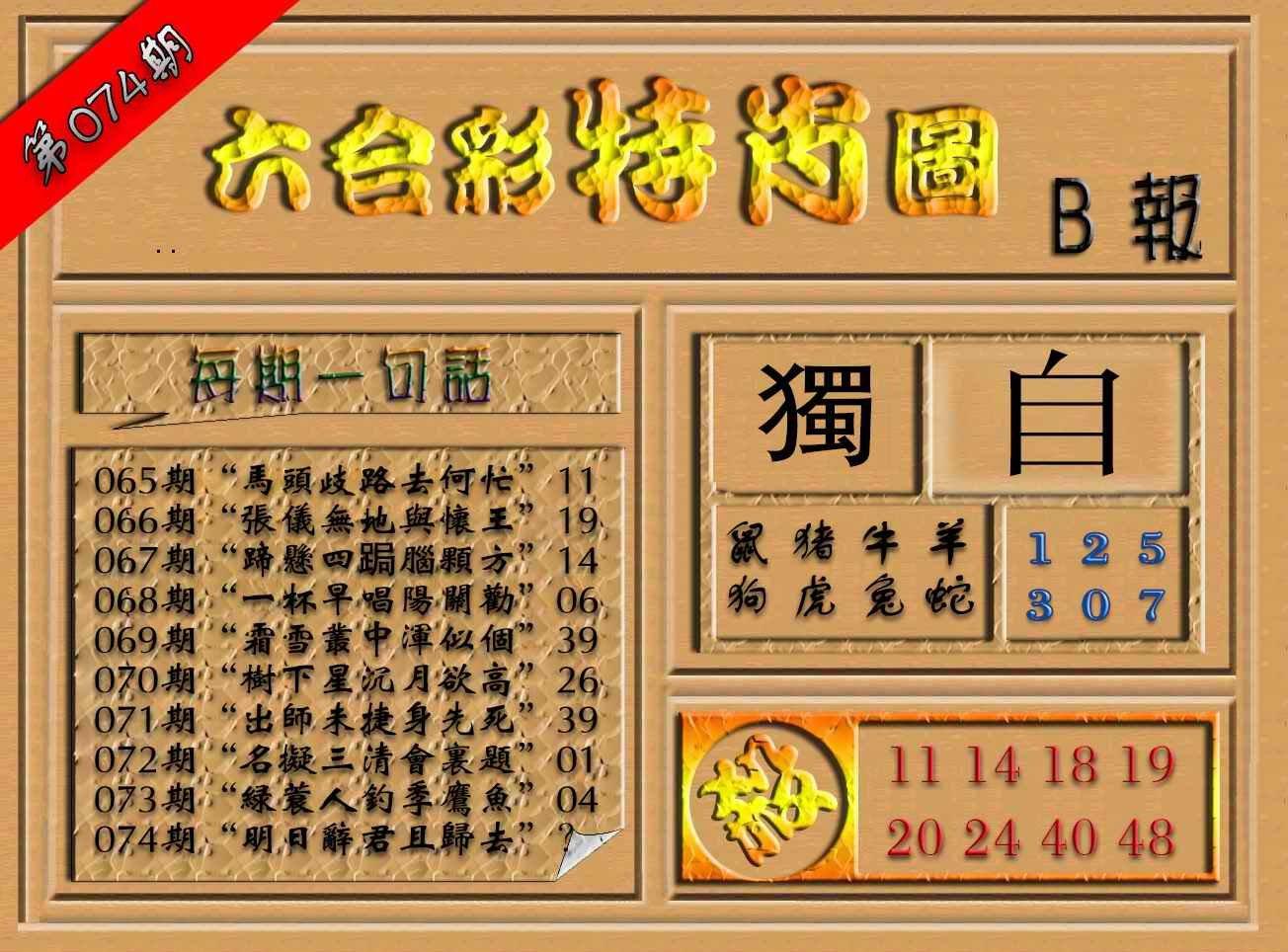 074期六合彩特肖图(B报)