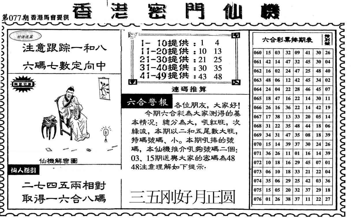 077期新香港密门仙机