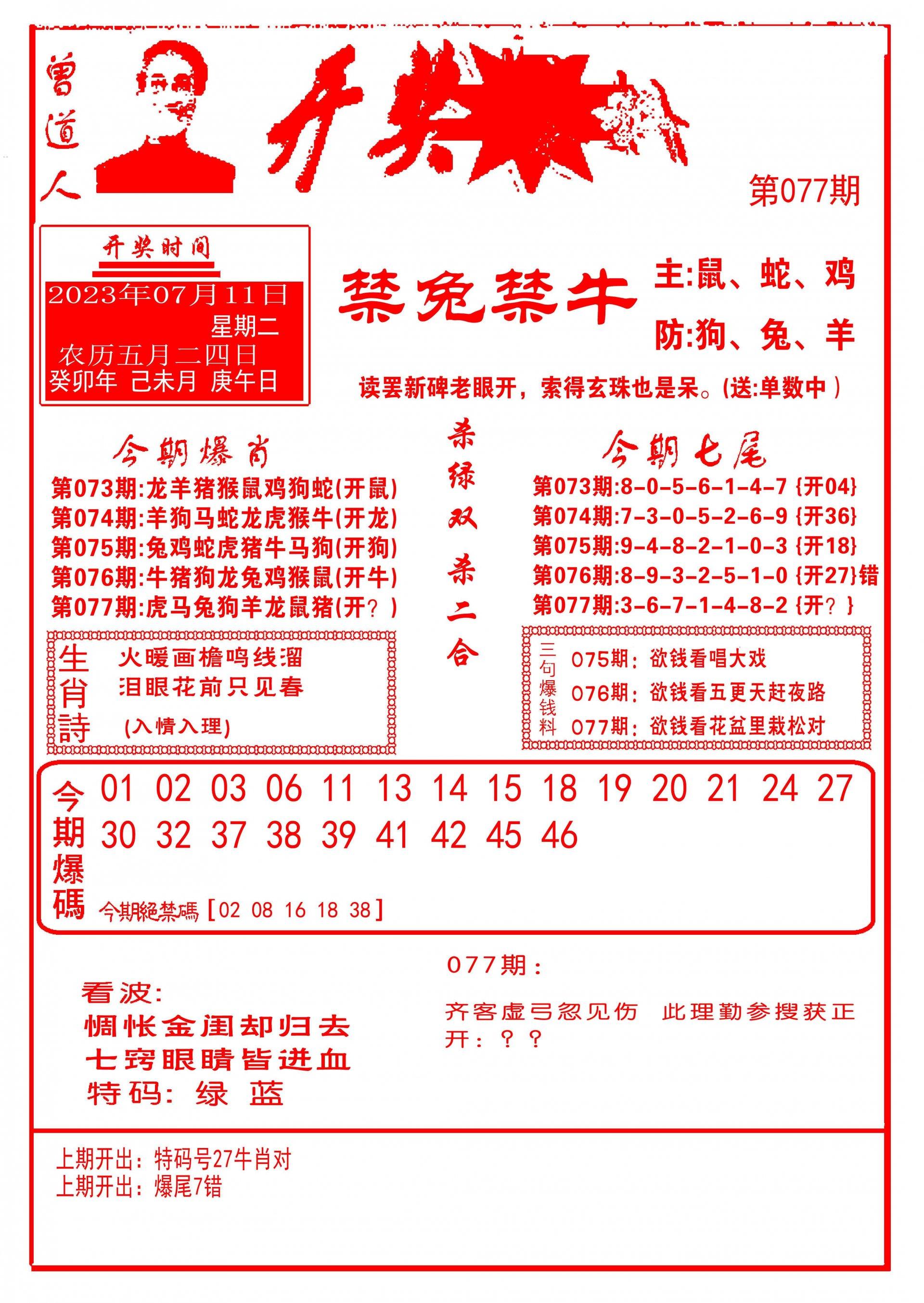 077期开奖爆料(新图推荐)