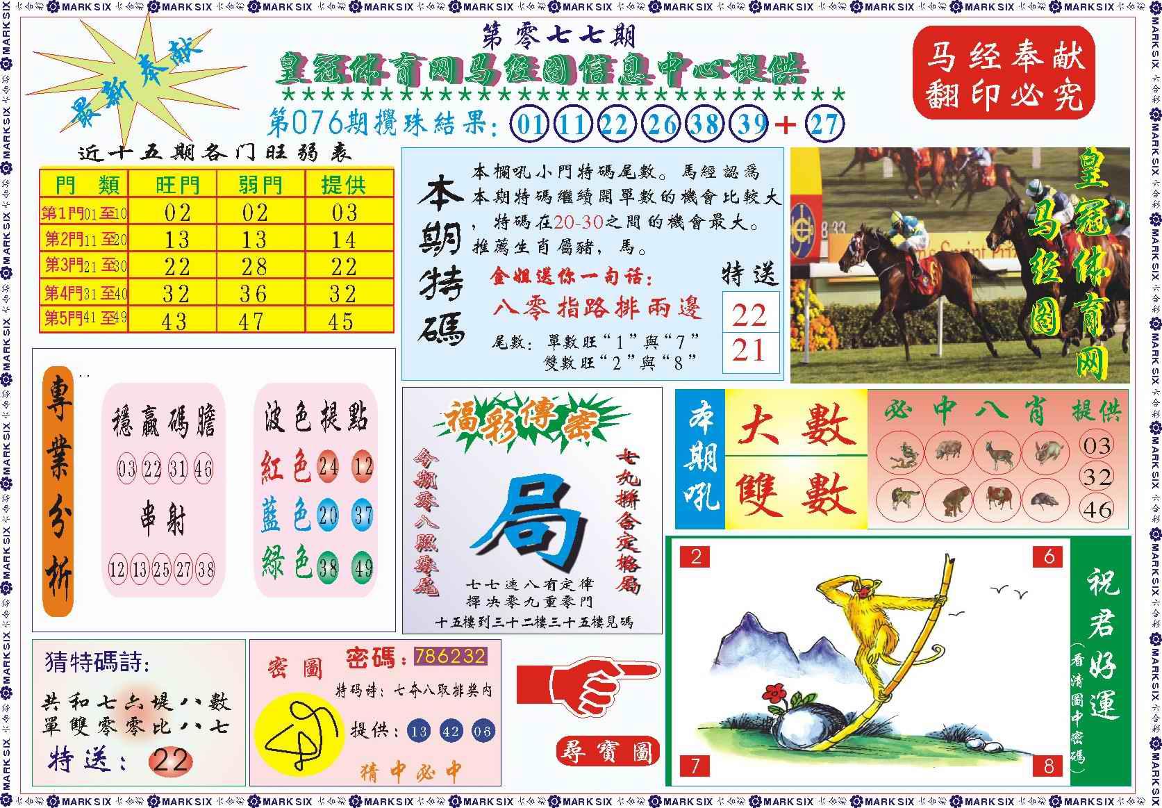 077期皇冠体育网马经图记录