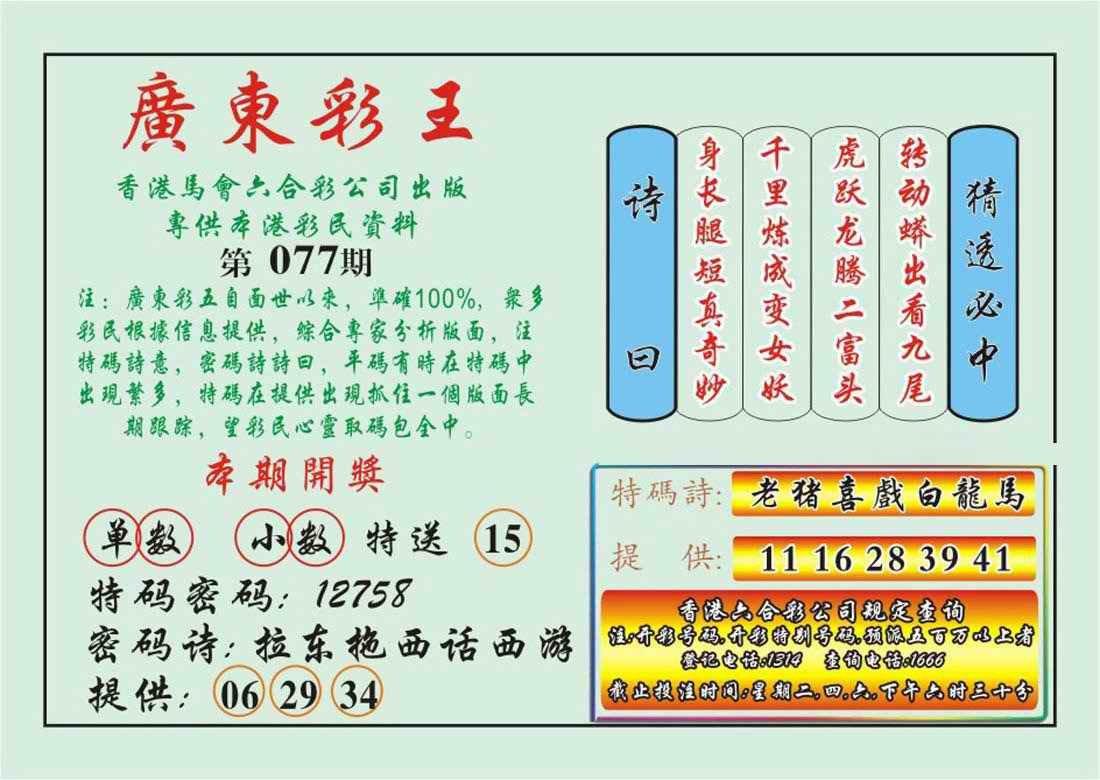 077期广东彩王