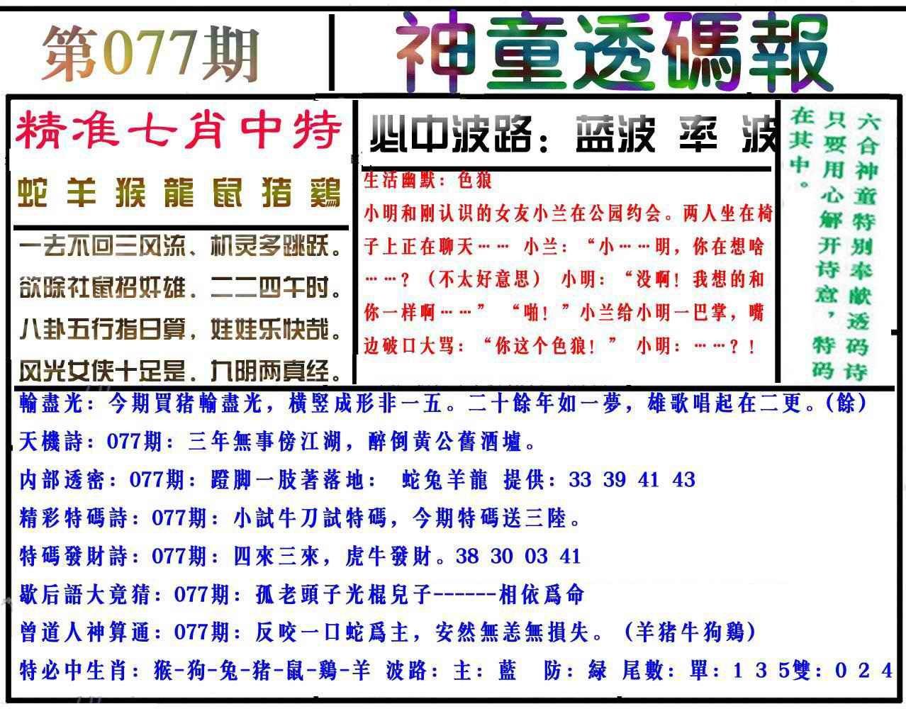 077期神童透码报(正版)