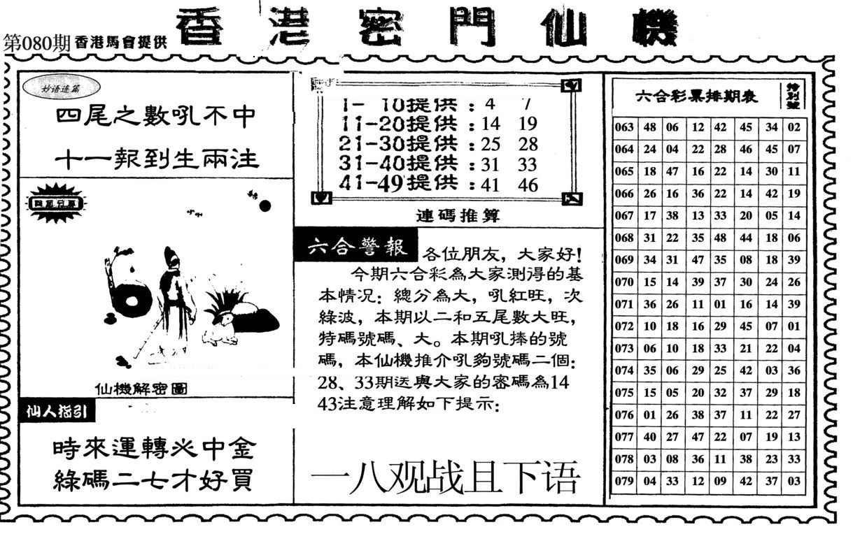 080期新香港密门仙机