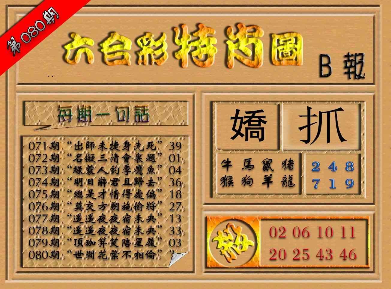 080期六合彩特肖图(B报)