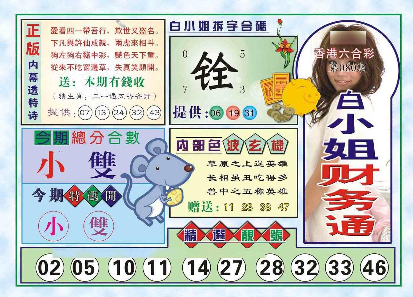 080期白小姐财务通(新图)