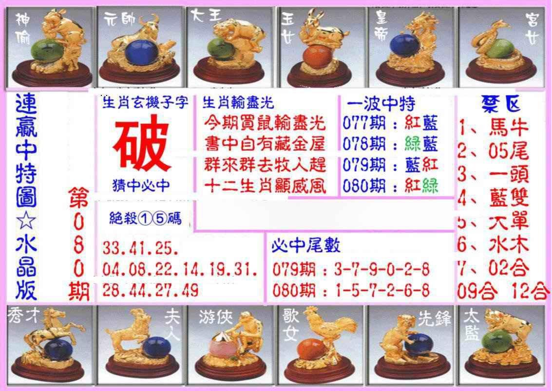 080期连赢中特图(水晶版)