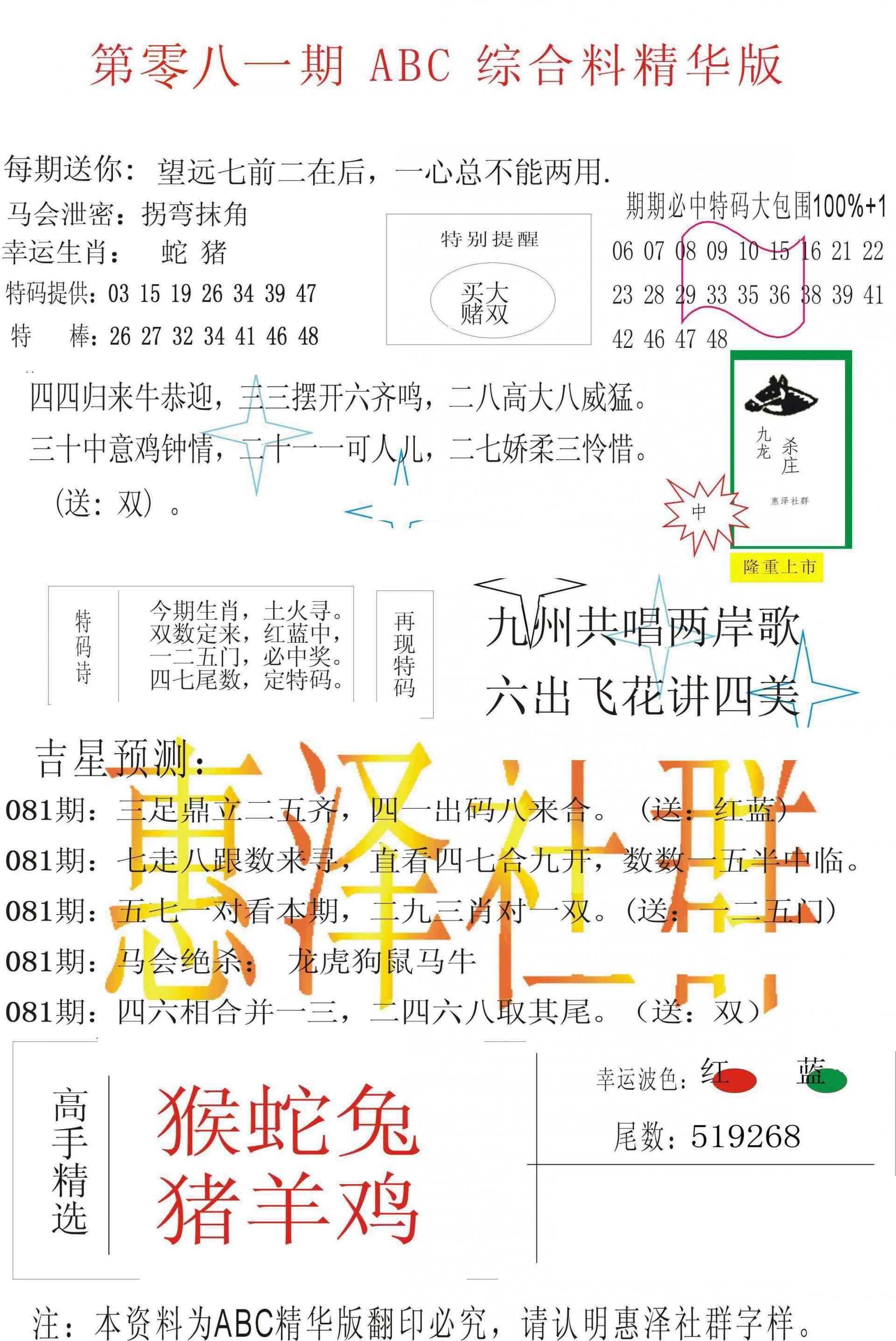 081期ABC综合正版资料