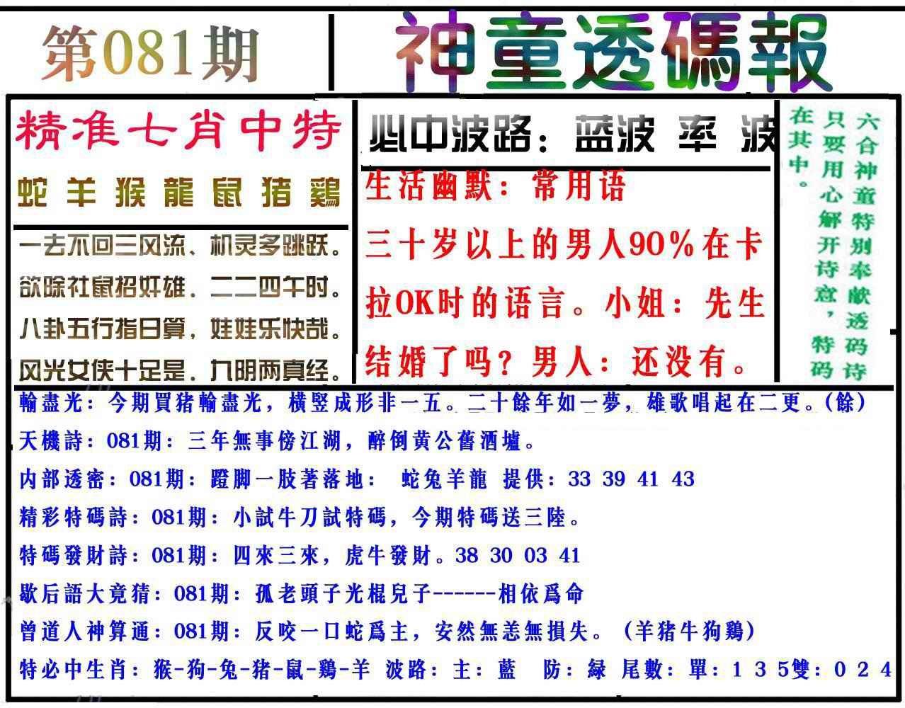 081期神童透码报(正版)