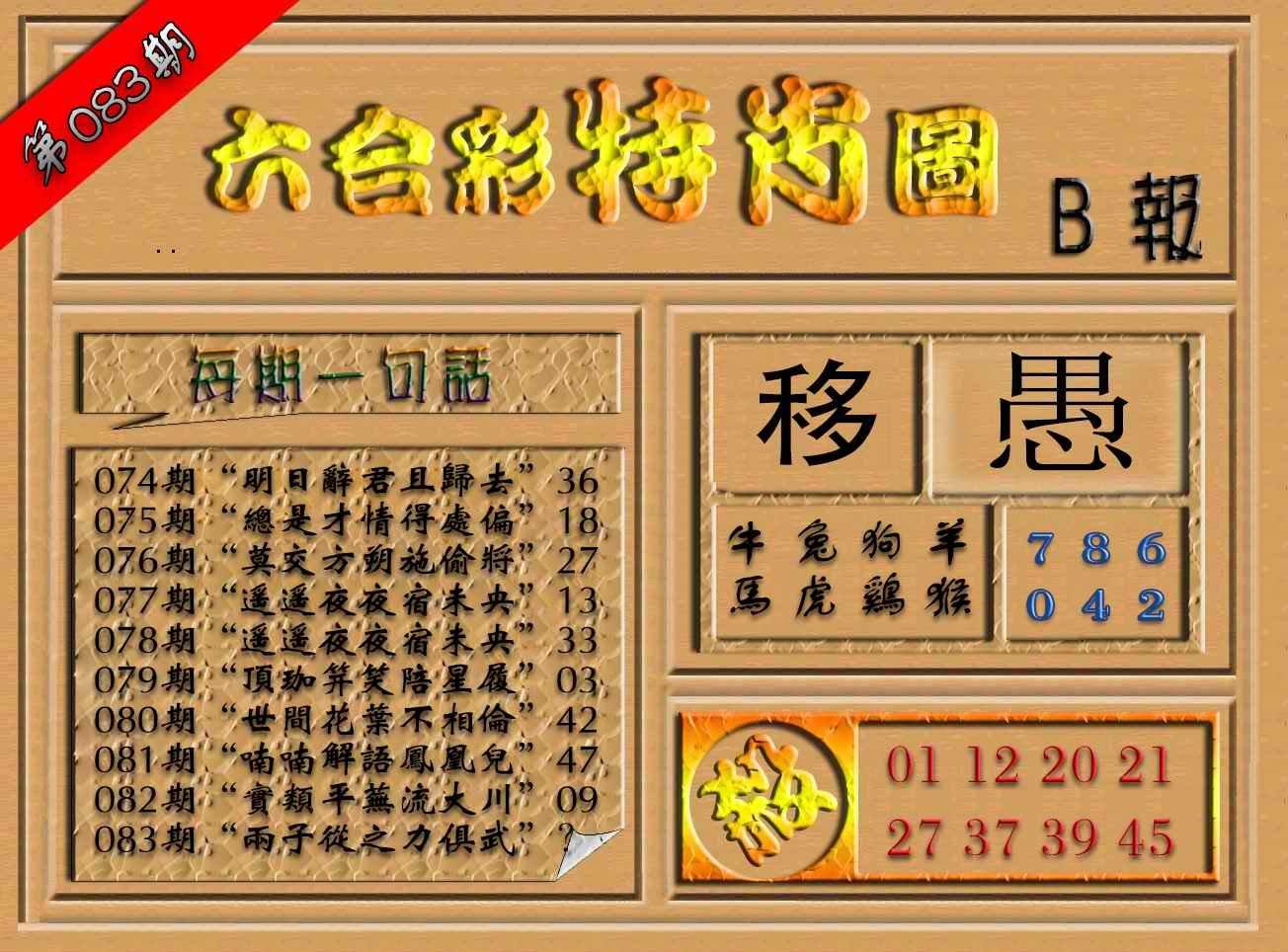 083期六合彩特肖图(B报)