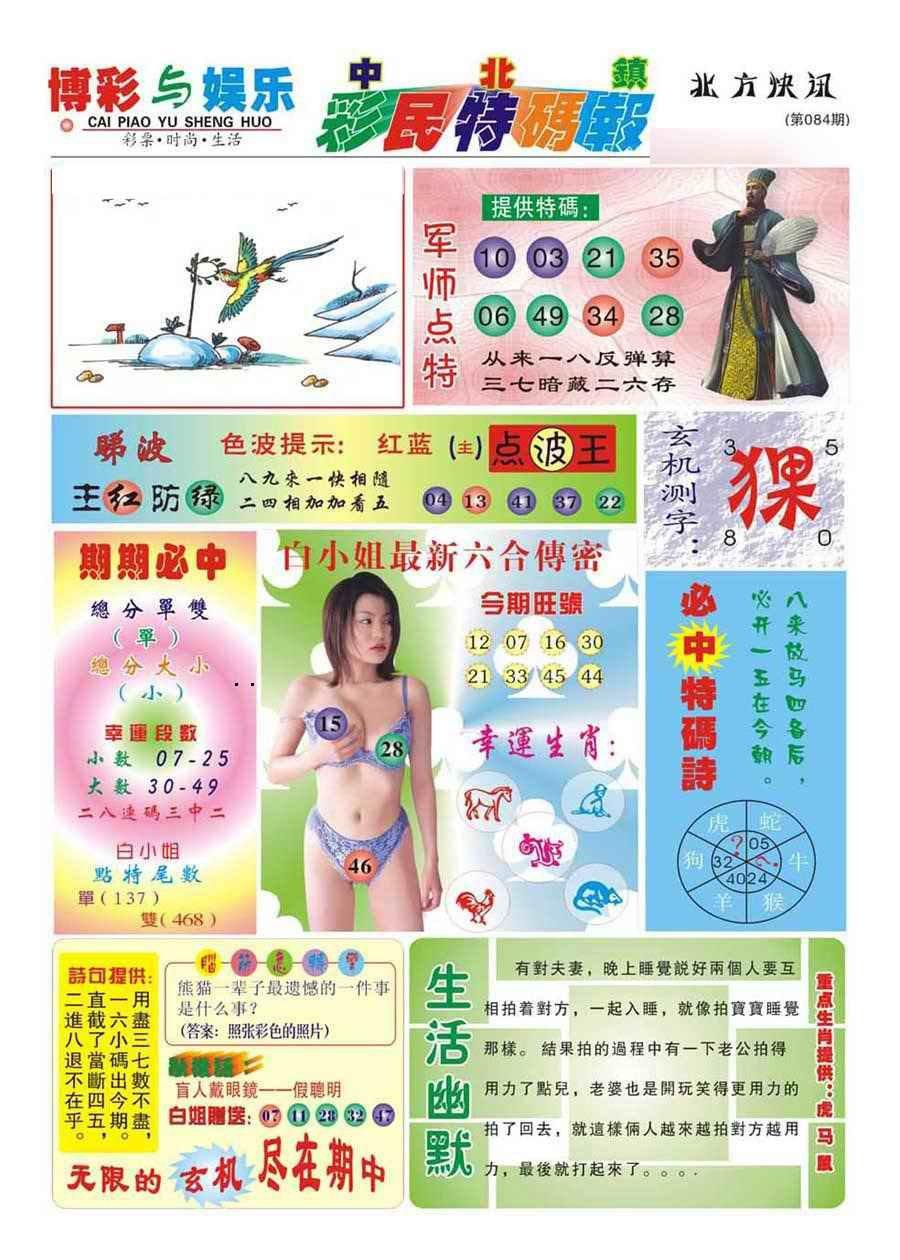 084期中北彩民特码报(新)