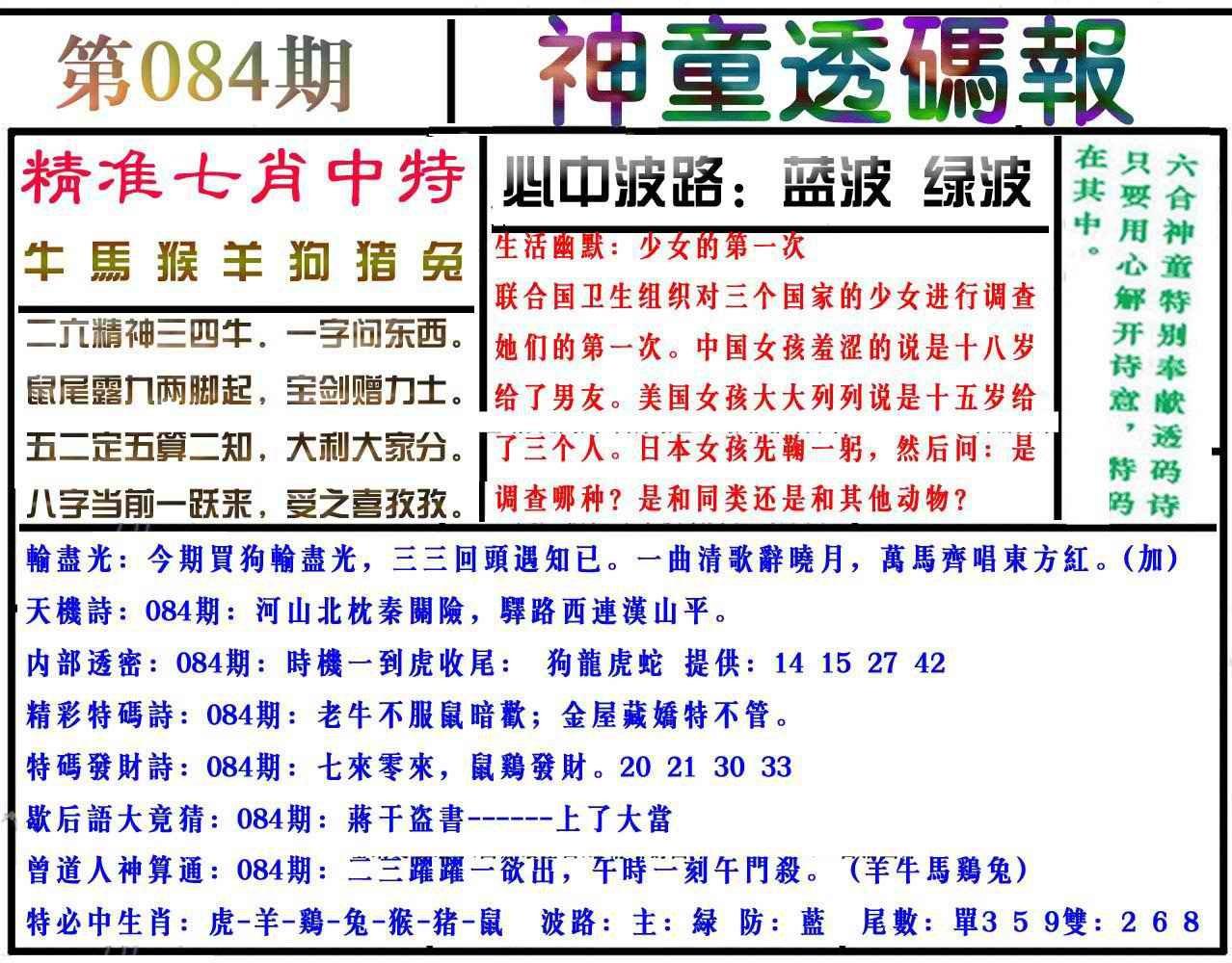 084期神童透码报(正版)
