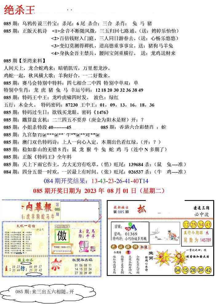 085期蓝天报(绝杀王)