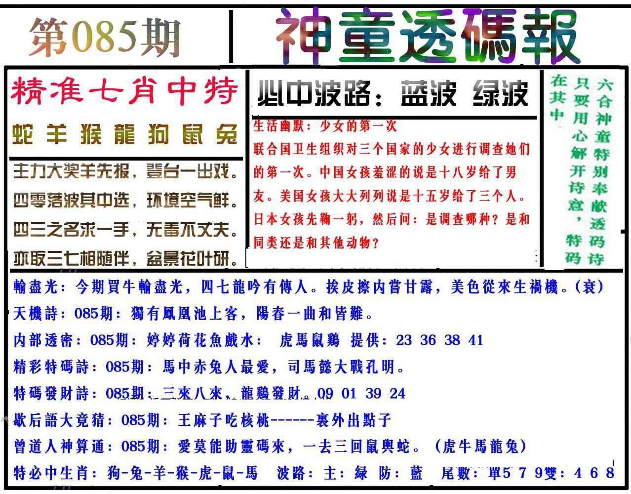 085期神童透码报(正版)