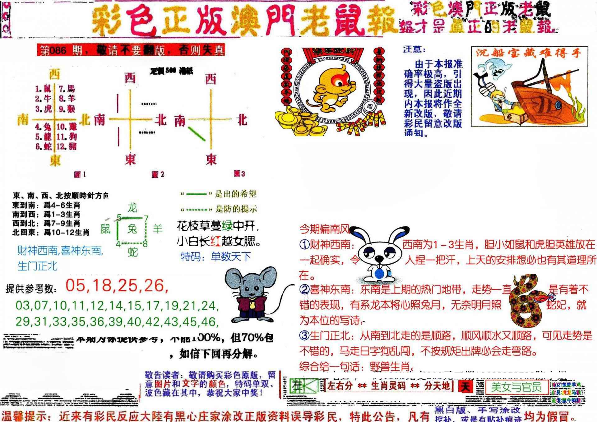 086期彩色正版澳门老鼠报