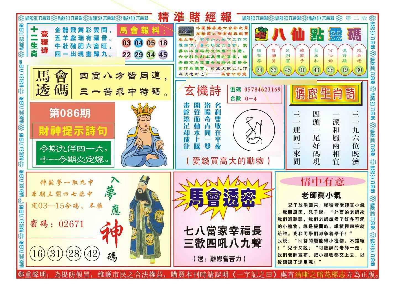 086期精准赌经报B(新图)