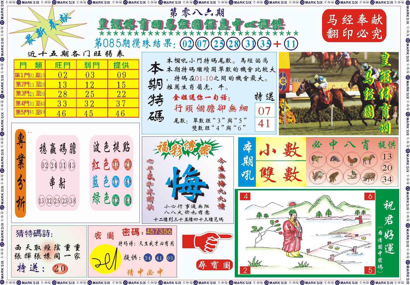 086期皇冠体育网马经图记录