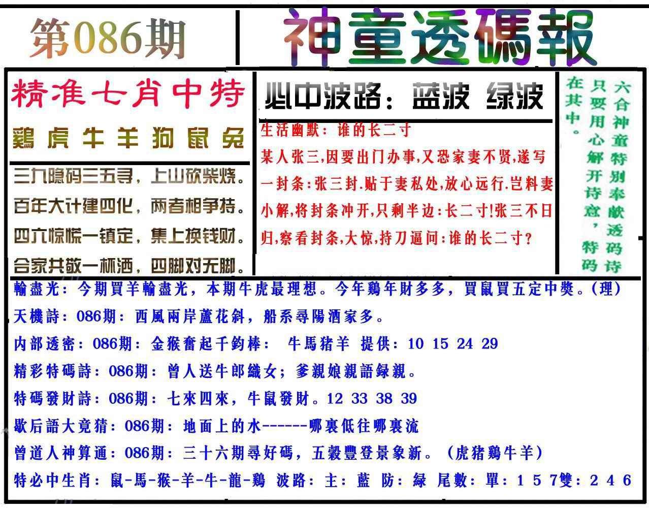 086期神童透码报(正版)