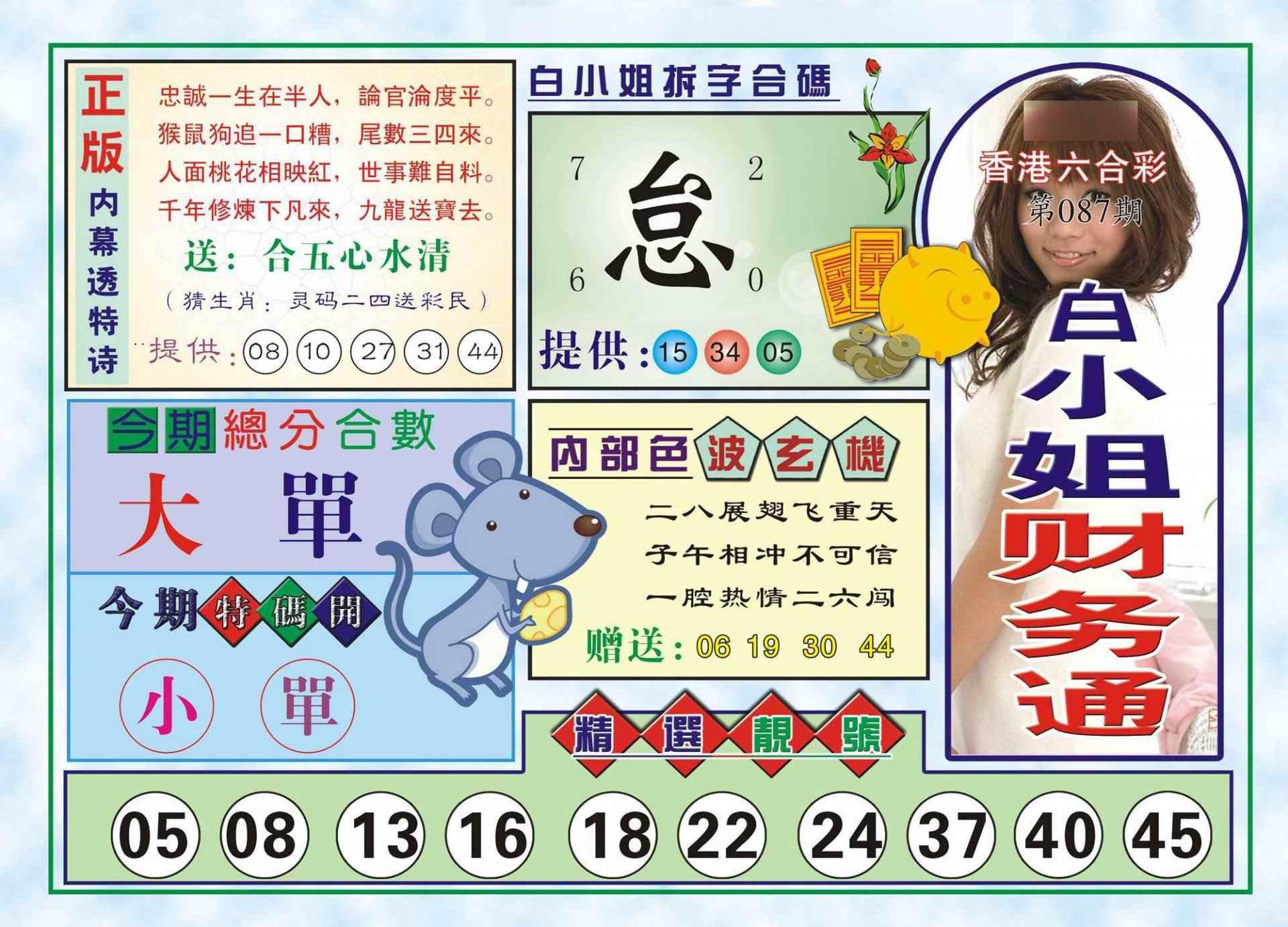 087期白小姐财务通(新图)