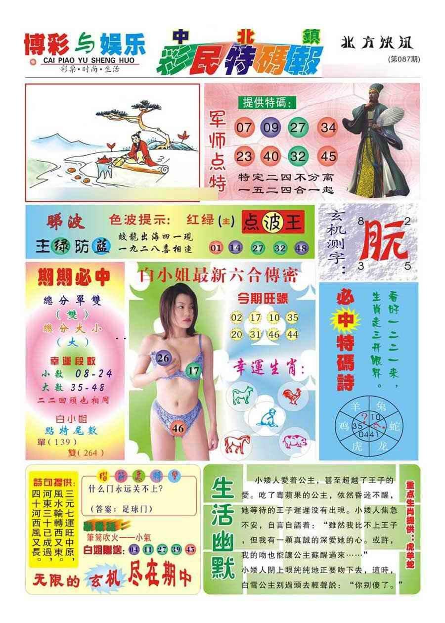 087期中北彩民特码报(新)
