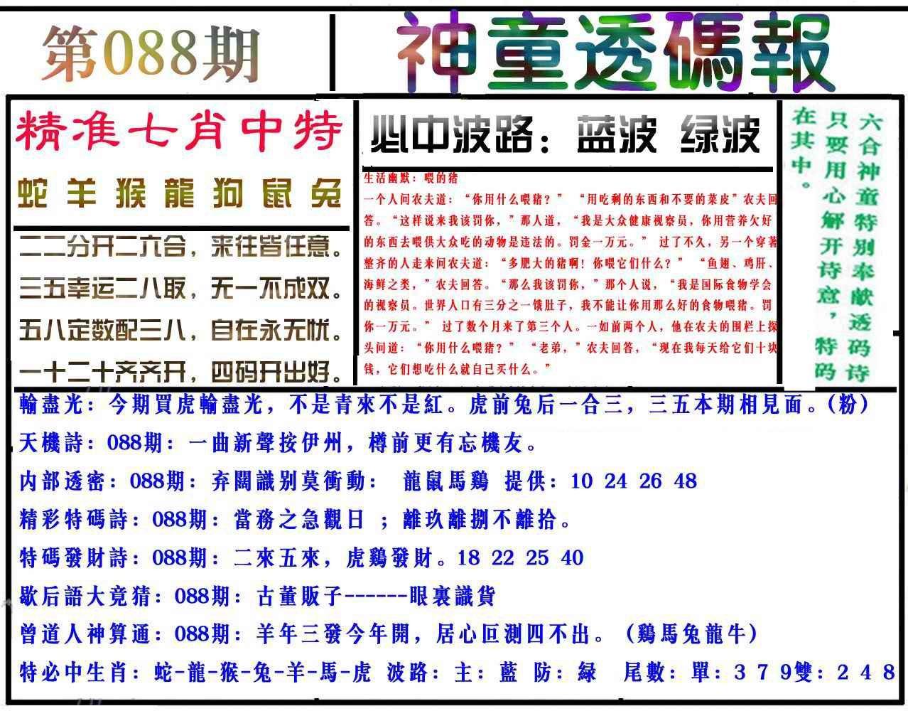 088期神童透码报(正版)